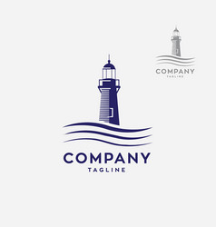 Lighthouse logo with waves logo vector