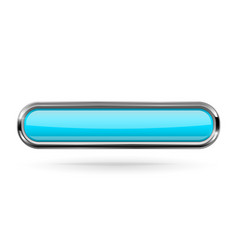 Long rectangle blue button with bold chrome frame vector