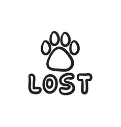 Lost dog sign sketch icon vector