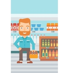 Man with pack of beer vector
