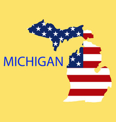 Michigan state of america with map flag print on vector