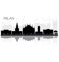 milan city skyline black and white silhouette vector image