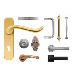 Modern door handles silver and golden metal vector