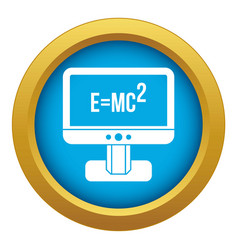 Monitor with einstein formula icon blue vector