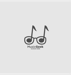 Music geek logo design template vector