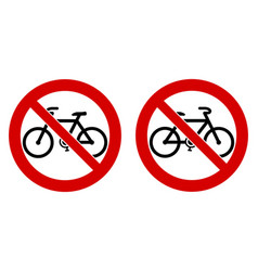 No bicycle bicycles not allowed sign black bike vector