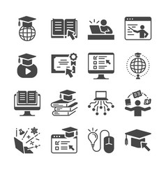 Online education icon set vector