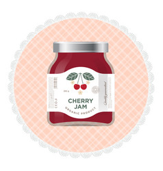 Packaging cherry jam label vector