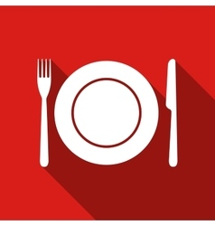 Platefork and knife flat icon with long shadow vector image vector image