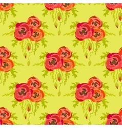 Poppies on green background Seamless pattern vector image