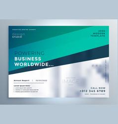 Professional blue business brochure flyer vector