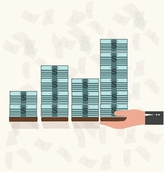 Rising money charts business success concept vector