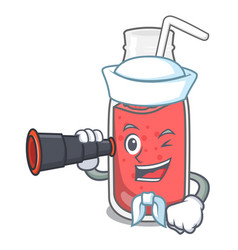 Sailor with binocular strawberry smoothie mascot vector