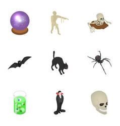 scary halloween icon set isometric style vector image