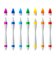 set colorful markers realistic vector image