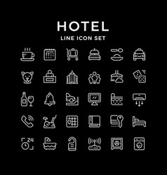 Set line icons hotel vector