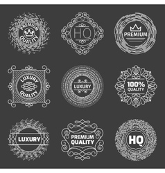 set luxury logo premium quality emblems vector image