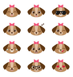 set of happy puppy emojis vector image