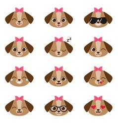 set of happy puppy emojis vector image