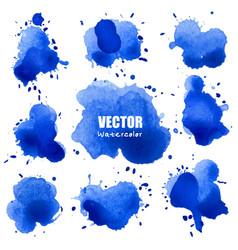 set of splash blue watercolor splash vector image