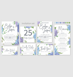 set wedding invitations floral invitations vector image
