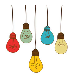 Silhouette of set light bulbs pendant in several vector