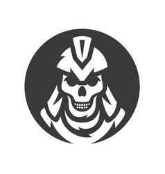 skull spartan soldier silhouette sign vector image