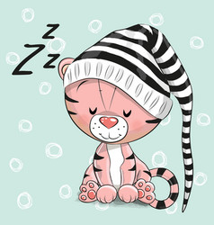 Sleeping cute tiger in a hood vector