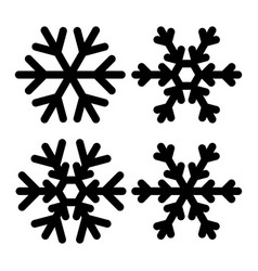 snowflakes icon set black and vector image