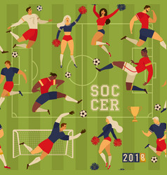 Soccer players and cheerleaders seamless pattern vector