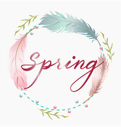 Spring wreath with colorful feathers place for vector