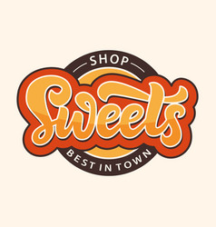 sweets shop logo label candy bar emblem vector image