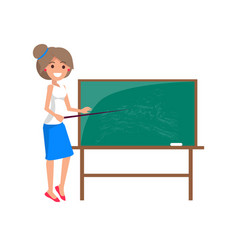 Teacher at blackboard isolated vector