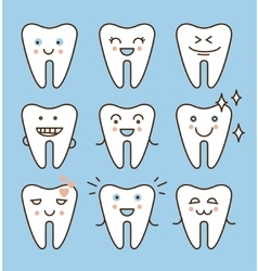 Tooth icons set dental collection vector image