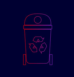 trashcan sign line icon with vector image