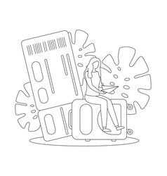travel vacation trip ticket suitcase line vector image