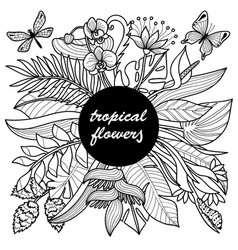 tropical flowers mock up vector image