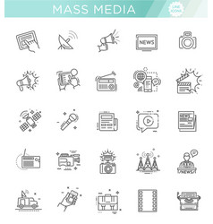 Tv and media news icons set vector