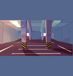 Underground car parking with vacant places markup vector