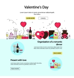 Valentines day posters and banners in flat style vector image