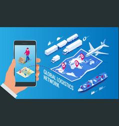 web template banner global logistics network flat vector image