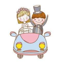 Wedding couple marriage cute cartoon vector