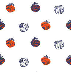 wild strawberry red and blue seamless vector image