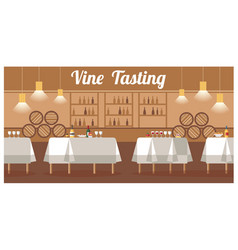 Wine tasting in luxury winery flat banner vector