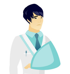 Young asian doctor with broken arm vector