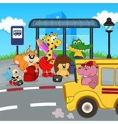 animals at bus stop waiting school bus vector image vector image