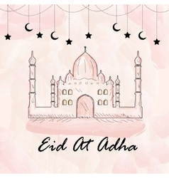 Greeting card for eid ul adha watercolor style vector