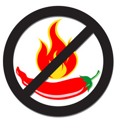 prohibition sign with spicy pepper vector image vector image