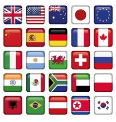 set of Flags world top states vector image