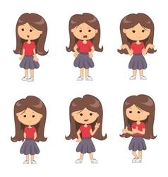 Set of full length portraits of cute girl vector image